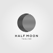 Half Moon Line Art Logo Templa...