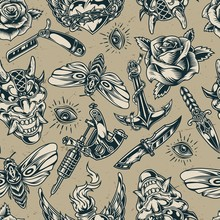 Vintage Flash Tattoos Monochrome Seamless Pattern