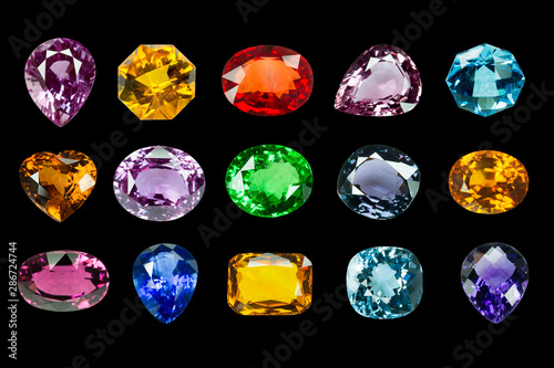 Bright gems on a black background