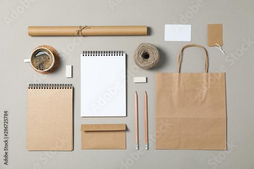 Mockup. Corporate stationery on grey background. Flat lay - fototapety na wymiar