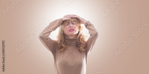 Fotografie, Obraz expressive adult woman portrait on isolated background