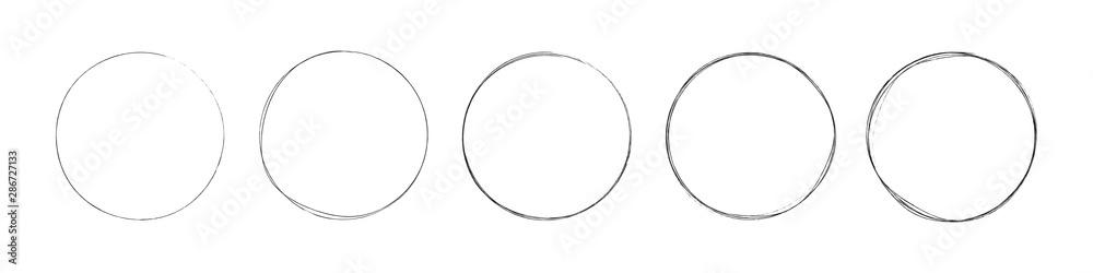 Fototapeta circles set. hand drawing different circles