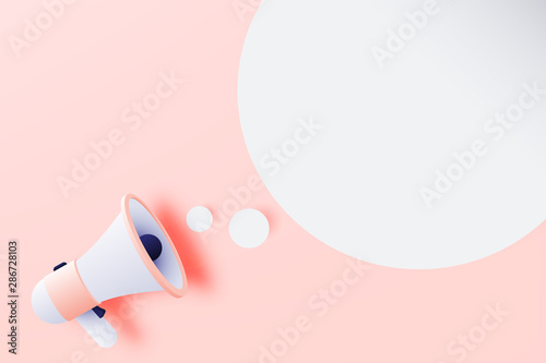 Megaphone announcement with paper art style Wallpaper Mural
