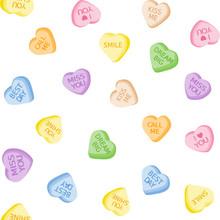 Heart Candies Seamless Vector Pattern