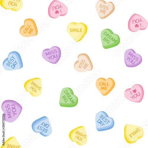 obraz lub plakat Heart candies seamless vector pattern