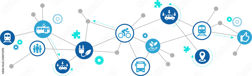 Fototapeta new mobility icon concept – ecological public transport alternatives: bus, bike, car sharing, train - vector illustration