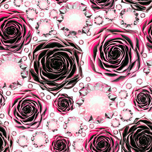 Seamlessly Loopable Pattern Of Diamonds And Metallic Roses