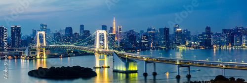 Fototapety, obrazy: panorama Tokyo Tower skyline and Rainbow Bridge with cityscape at Odaiba Japan
