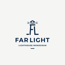 Far Light Abstract Vector Sign, Symbol Or Logo Template. Searchlight Tower Symbol From A And L Letters With Typography. Lighthouse Monogram Nautical Building Emblem.