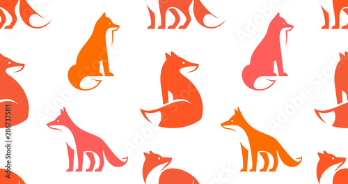 Obraz Seamless pattern with Fox logo. isolated on white background - fototapety do salonu