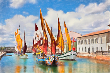 FototapetaCesenatico, Emilia Romagna, Italy: watercolor painting of the ancient fishing boats