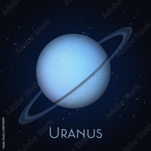 Foto Uranus planet with orbit on black background