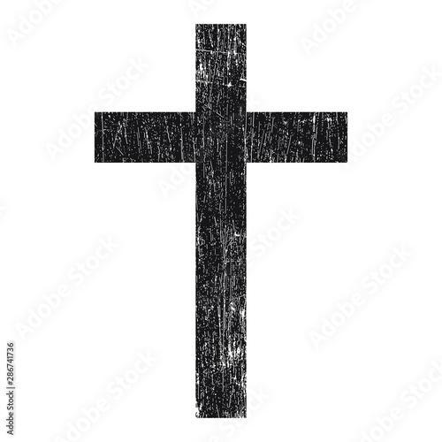 Fotografija Black grunge сhristian cross vector isolated