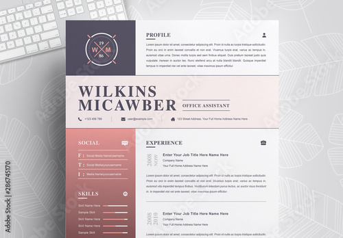 Resume and Cover Letter Layout with Pink Gradient. Kaufen ...