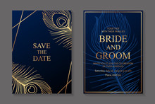 Wedding Invitation Design Or Greeting Card Templates With Golden Peacock Feathers On A Dark Blue Background.