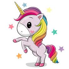Cartoon Unicorn Isolated On A ...