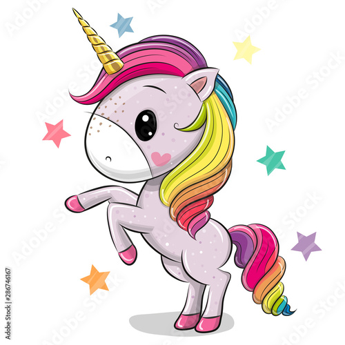 Fotomural Cartoon Unicorn isolated on a white background