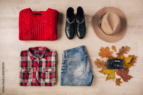 flat lay of woman travel autumn style fashion and accessories Wallpaper Mural