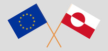 Greenland And The EU. Crossed Greenlandic And European Flags