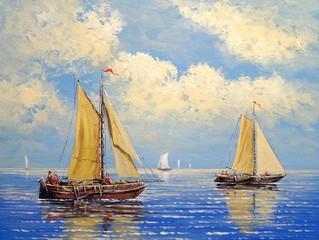 Fototapeta Morze Oil paintings sea landscape. Ffisherman, sailing ship on the sea. Fine art.