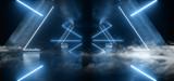 Fototapeta Scene - Smoke Neon Laser Glowing Blue Triangle Corridor Sci Fi Futuristic Hallway Tunnel Underground Alien Spaceship Dance Disco Showroom Background Vibrant Beam Gateway 3D Rendering