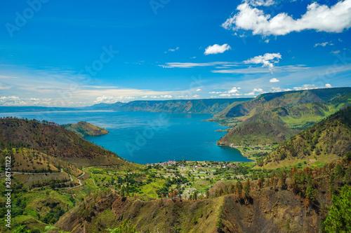 Fototapeta Beautiful view of Danau Toba or Lake Toba at Sumatera Utara, Indonesia obraz