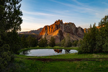 Smith Rock Park In Oregon Is Seen At Sunset