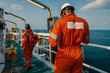 Employees at work on offshore vessel