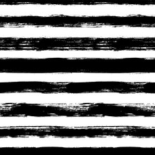 Vector Seamless Pattern With Scribbles Stripes. Ink Brush Texture. Simple Monochrome Background.