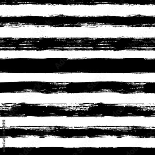 Obraz Vector seamless pattern with scribbles stripes. Ink brush texture. Simple monochrome background. - fototapety do salonu