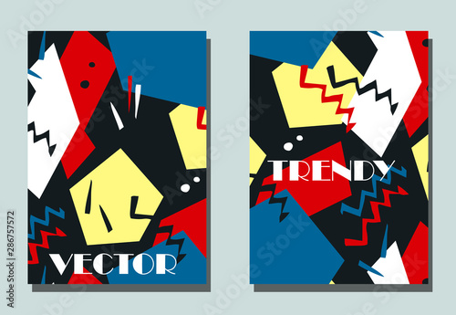 Stampa su Tela Trendy cover with graphic elements - abstract shapes