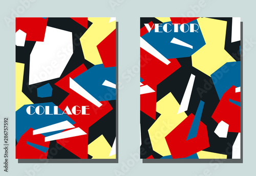 Canvas Print Trendy cover with graphic elements - abstract shapes