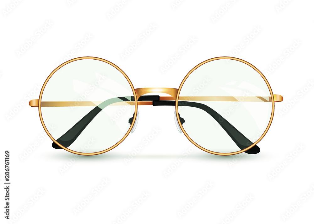 Fototapeta Golden glasses isolated on white background, round black-rimmed glasses, women's and men's accessory. Optics, see well, lens, vintage, trend. Vector illustration. EPS10