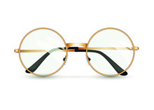 Golden Glasses Isolated On Whi...