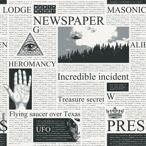 Fototapeten Künstlich Vector seamless pattern with newspaper columns. Repeatable newspaper background with black unreadable text, headlines, illustrations on the theme of magic, metaphysics, palmistry, alien civilizations