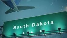 Airplane Take Off South Dakota In Christmas