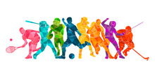 Color Sport Background. Football, Basketball, Hockey, Box, \nbaseball, Tennis. Vector Illustration Colorful Silhouettes Athletes