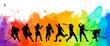 Leinwanddruck Bild - Color sport background. Football, basketball, hockey, box, \nbaseball, tennis illustration colorful silhouettes athletes