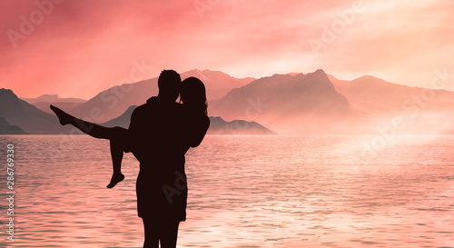 happiness and romantic Scene of love couples partners Canvas Print