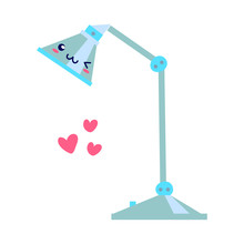 Kawaii Smiling Blue Table Lamp, Flat Style. Can Be Used For Cute Greeting Cards Or Posters Or Interior Elements, Home Decoration, For Plants Care Leaflets, Hygge Illustrations Etc.