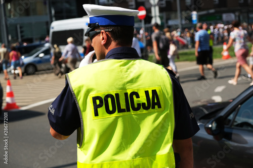 Fotomural  Katowice, Poland-august/15/2019 The policeman on the street on duty