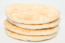 Pita Flat Bread Isolated On Wh...