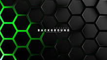 Abstract Black Hexagon Pattern On Green Neon Background Technology Style. Honeycomb. Vector Illustration