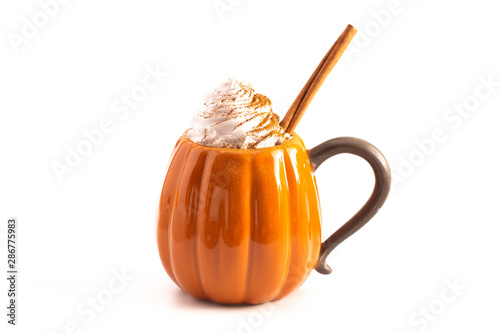 A Pumpkin Spice Latte Isolated on a White Background