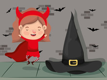 Little Girl With Devil Costume And Witch In Wall Character