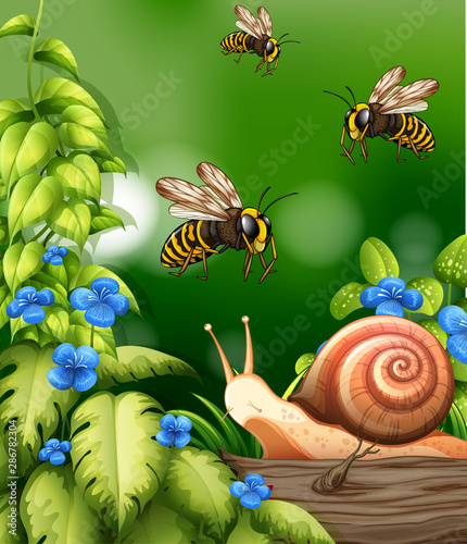 Türaufkleber Kinder Nature scene with bees and snail
