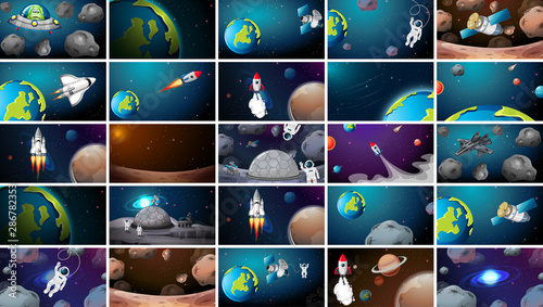 Montage in der Fensternische Kinder Large set of different space scenes
