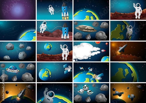 Montage in der Fensternische Kinder Big set of space background scenes