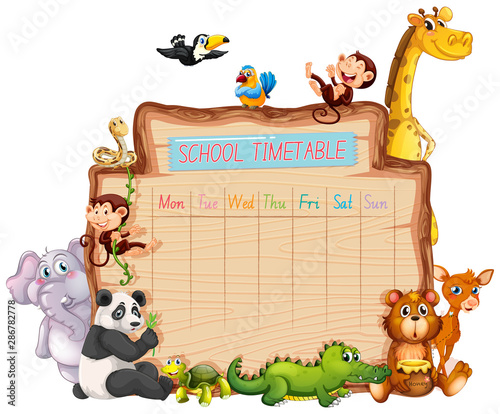 Montage in der Fensternische Kinder Animal school timetable on white