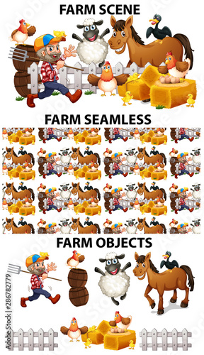 Seamless background design with many farm animals